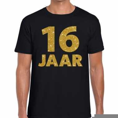 16 jaar gouden glitter tekst t-shirt zwart heren