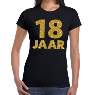18 jaar goud glitter t shirt zwart dames
