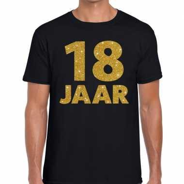 18 jaar gouden glitter tekst t shirt zwart heren