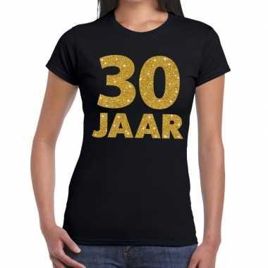 30 jaar goud glitter t shirt zwart dames