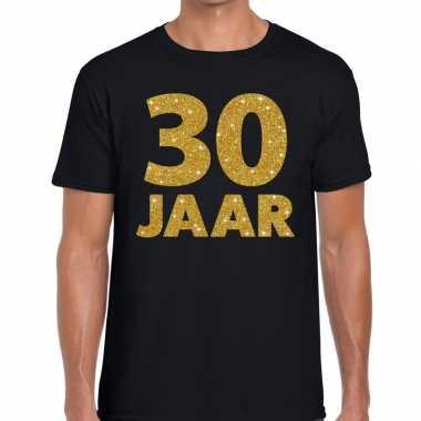 30 jaar gouden glitter tekst t shirt zwart heren
