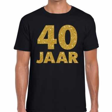 40 jaar gouden glitter tekst t shirt zwart heren