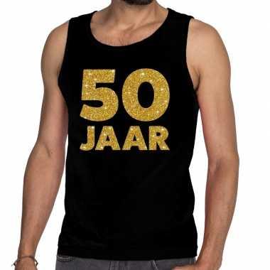 50 jaar glitter tanktop / mouwloos shirt zwart heren