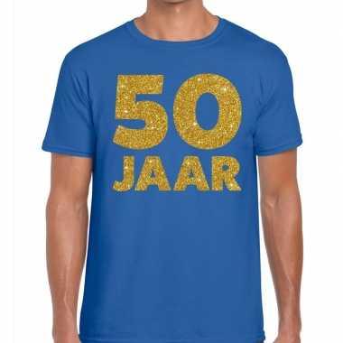 50 jaar glitter verjaardag t shirt blauw heren