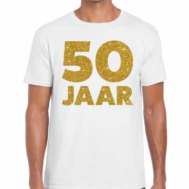 50 jaar glitter verjaardag t shirt wit heren