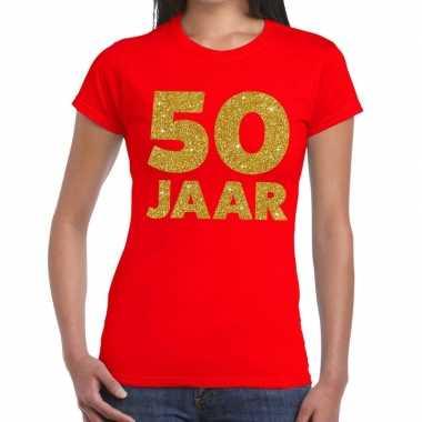 50 jaar gouden glitter verjaardag t shirt rood dames