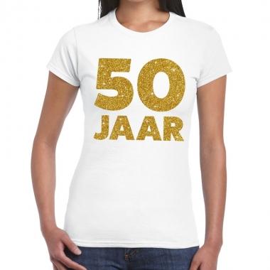 50 jaar gouden glitter verjaardag t shirt wit dames