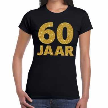60 jaar goud glitter t shirt zwart dames