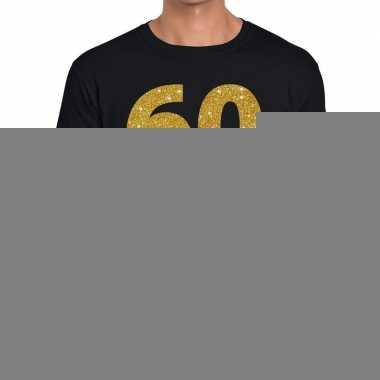 60 jaar gouden glitter tekst t-shirt zwart heren
