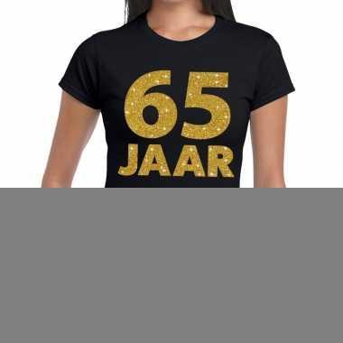65 jaar goud glitter t shirt zwart dames