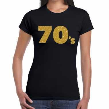 70's goud glitter t shirt zwart dames
