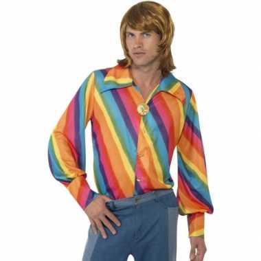 70s shirt regenboog print