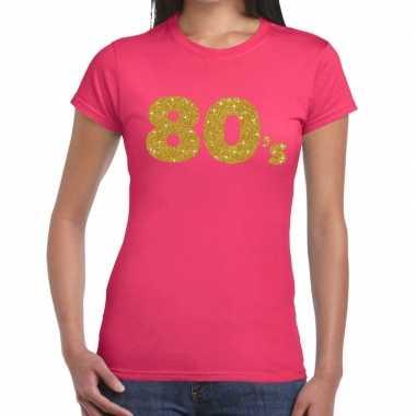 80's goud glitter t shirt roze dames