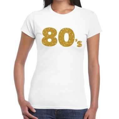 80's goud glitter t shirt wit dames