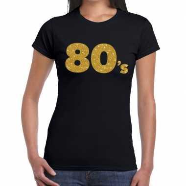 80's goud glitter t shirt zwart dames