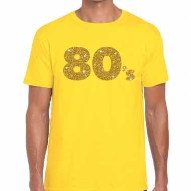 80's goud glitter tekst t shirt geel heren