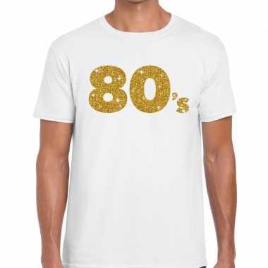 80's goud glitter tekst t shirt wit heren
