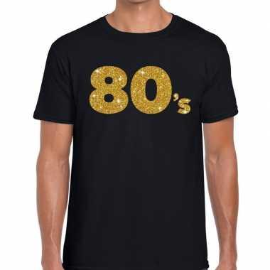80's gouden glitter tekst t shirt zwart heren