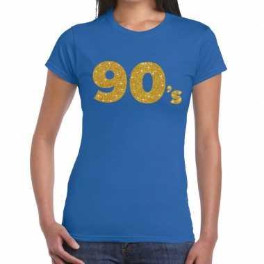 90's goud glitter t shirt blauw dames
