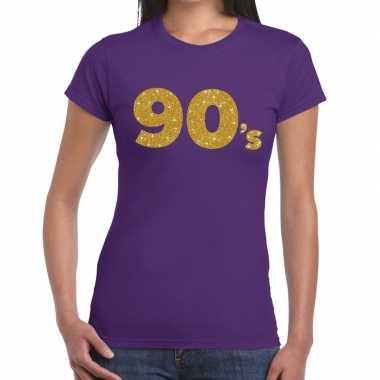 90's goud glitter t shirt paars dames