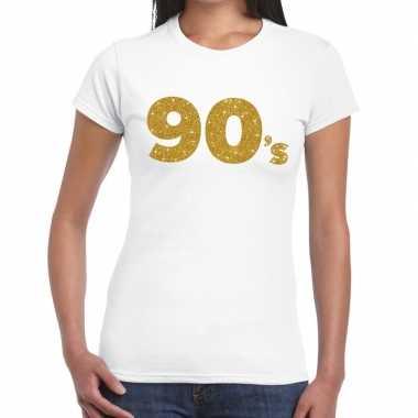 90's goud glitter t shirt wit dames