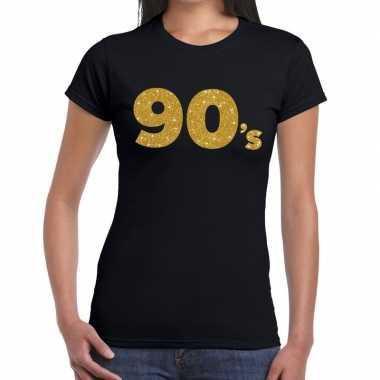 90's goud glitter t shirt zwart dames