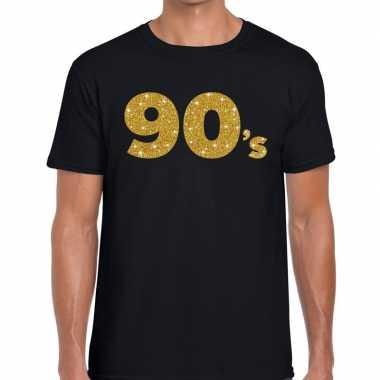 90's gouden glitter tekst t shirt zwart heren