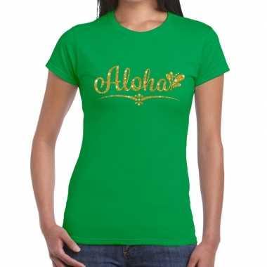 Aloha goud glitter hawaii t shirt groen dames