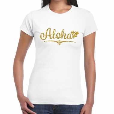 Aloha goud glitter hawaii t shirt wit dames