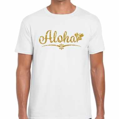 Aloha goud glitter hawaii t shirt wit heren