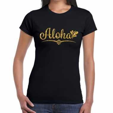 Aloha gouden glitter hawaii t shirt zwart dames