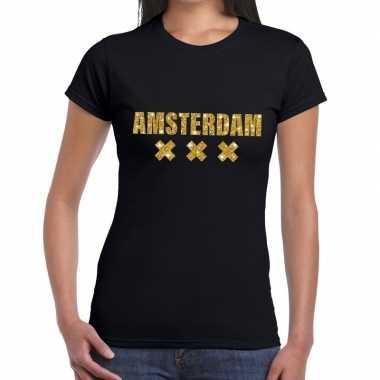 Amsterdam gouden glitter tekst t shirt zwart dames