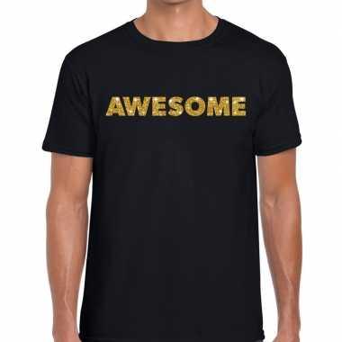 Awesome goud glitter tekst t shirt zwart heren