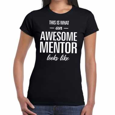 Awesome mentor cadeau t shirt zwart dames