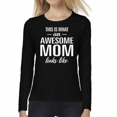 Awesome mom cadeau t shirt long sleeve zwart dames