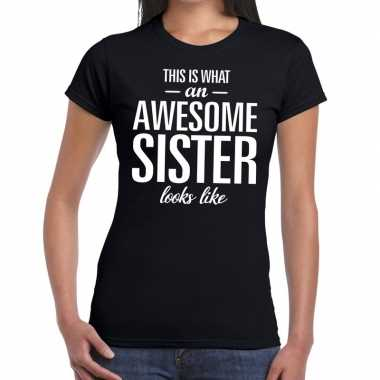 Awesome sister tekst t shirt zwart dames