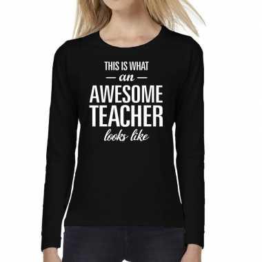 Awesome teacher cadeau t shirt long sleeve zwart dames