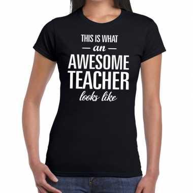 Awesome teacher tekst t shirt zwart dames