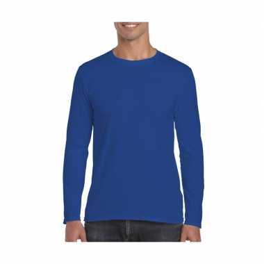 Basic heren t shirt kobalt blauw lange mouwen