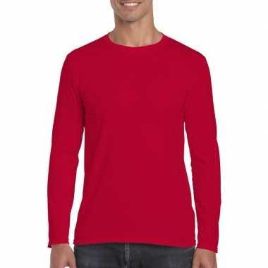 Basic heren t shirt rood lange mouwen