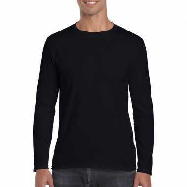 Basic heren t shirt zwart lange mouwen