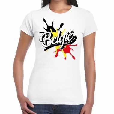 Belgie t shirt spetter wit dames