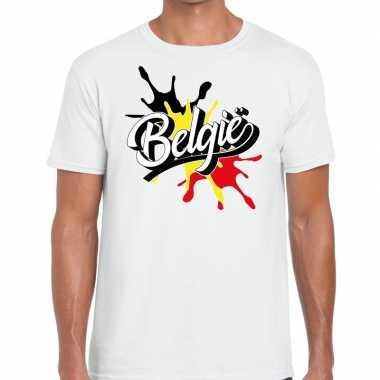Belgie t shirt spetter wit heren