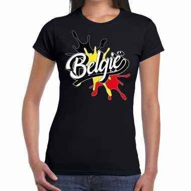 Belgie t shirt spetter zwart dames