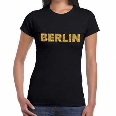Berlin gouden glitter tekst t shirt zwart dames