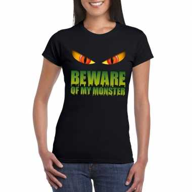 Beware of my monster halloween t shirt zwart dames