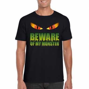 Beware of my monster halloween t shirt zwart heren