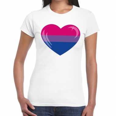 Bi hart gay pride t shirt wit dames