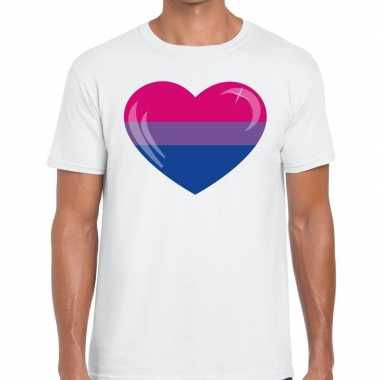 Bi hart gay pride t shirt wit heren