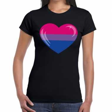 Bi hart gay pride t shirt zwart dames